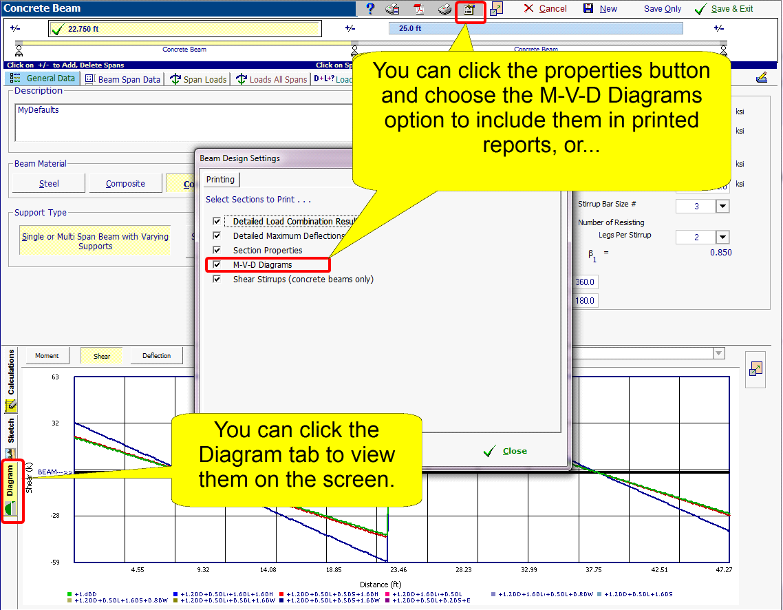 Structural engineering library calculation modules beams include the diagrams in the printed reports or you can click the tab named diagram in the results pane and then view the diagrams on the screen pooptronica Gallery